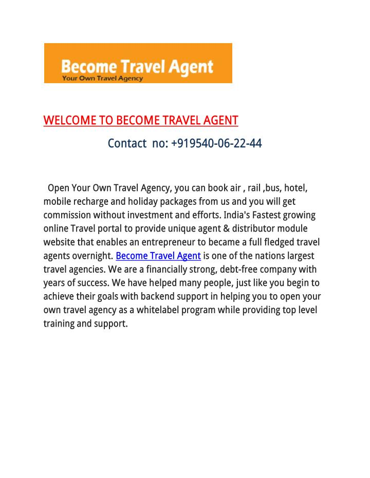 WELCOME TO BECOME TRAVEL AGENT