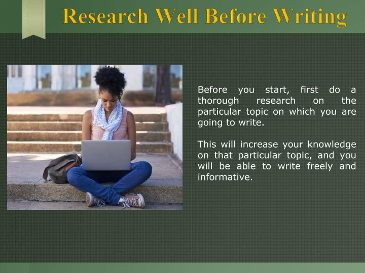 Research Well Before Writing