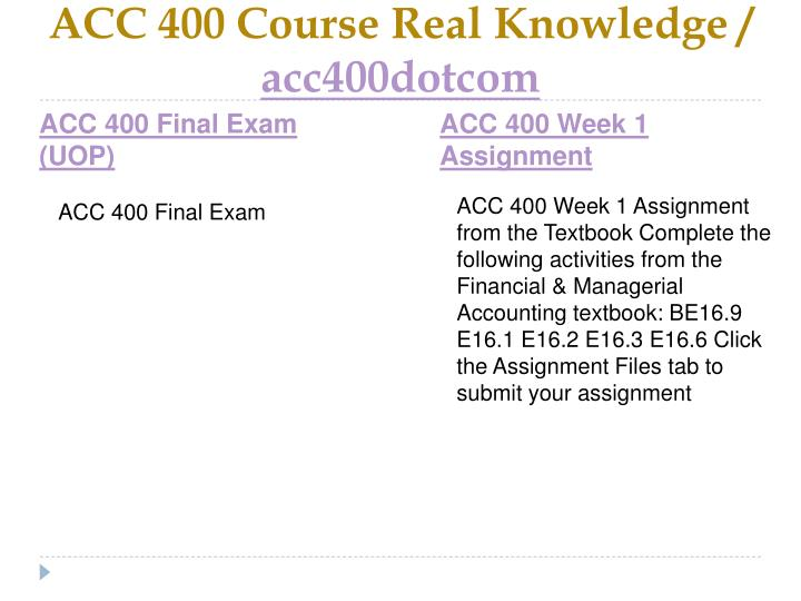 Acc 400 course real knowledge acc400dotcom2
