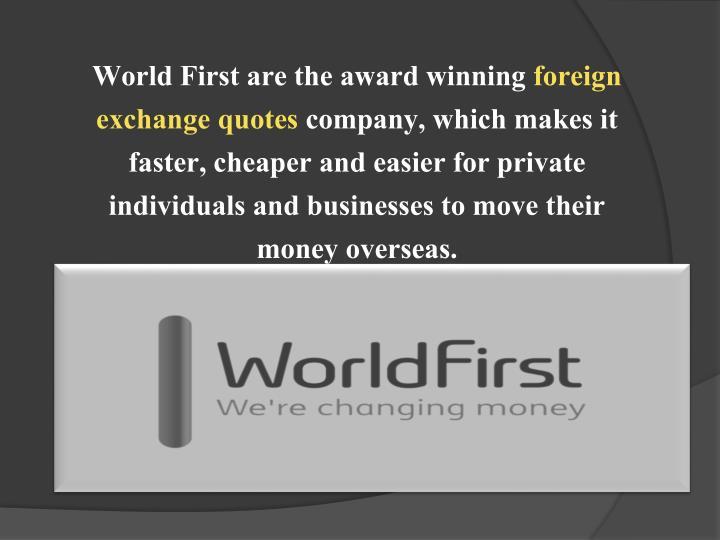 World First are the award winning