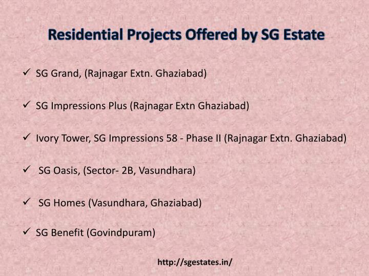 Residential projects offered by sg estate
