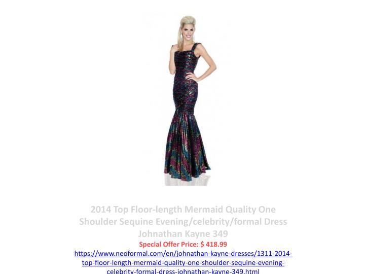2014 Top Floor-length Mermaid Quality One Shoulder Sequine Evening/celebrity/formal Dress Johnathan Kayne 349