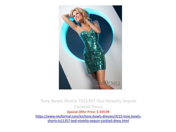 Tony Bowls Shorts TS11357 Teal Novelty Sequin Cocktail Dress