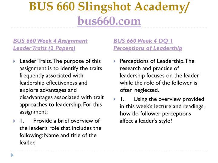 BUS 660 Slingshot Academy/