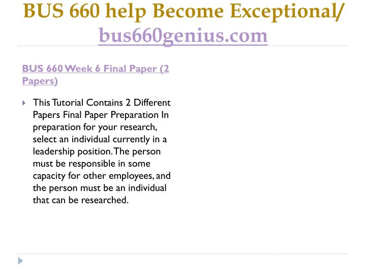 BUS 660 help Become Exceptional/