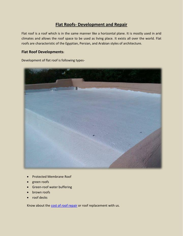 Flat Roofs- Development and Repair