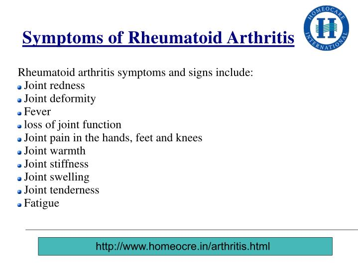 Symptoms of Rheumatoid Arthritis