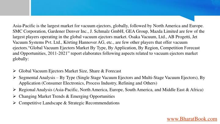 Asia-Pacific is the largest market for vacuum ejectors, globally, followed by North America and Euro...