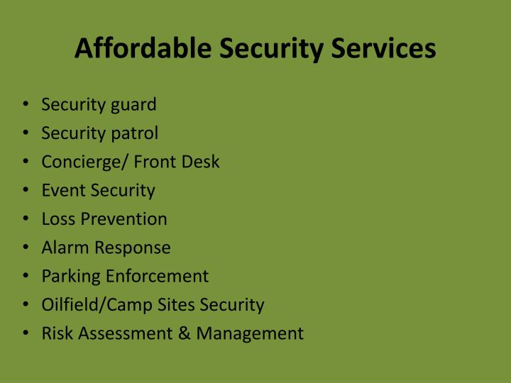 Affordable security services