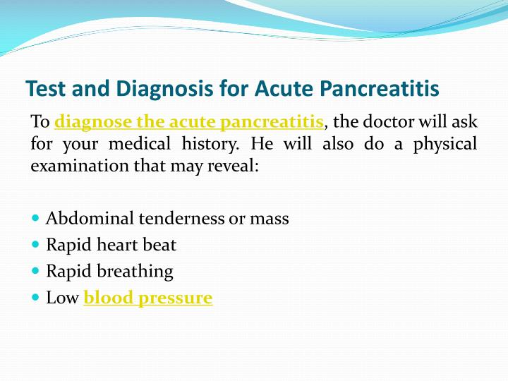 Test and Diagnosis for Acute Pancreatitis