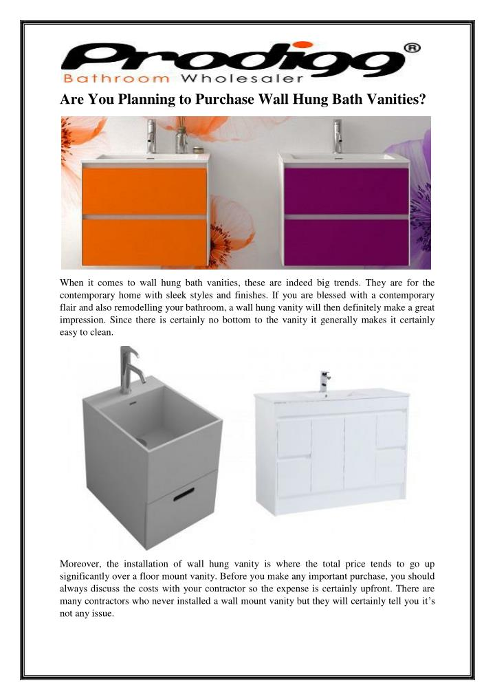 Are You Planning to Purchase Wall Hung Bath Vanities?