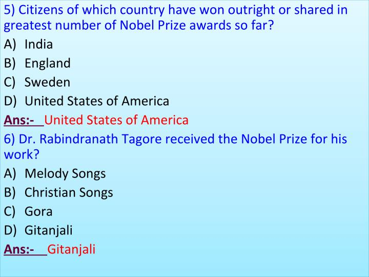 5) Citizens of which country have won outright or shared in