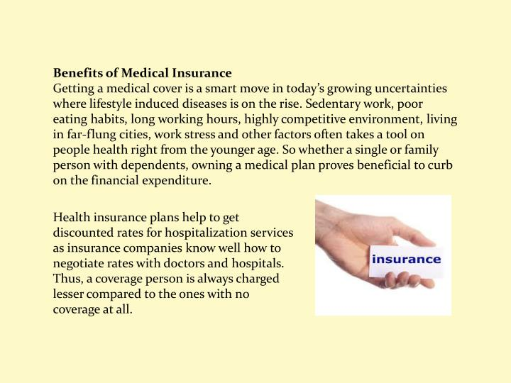 Benefits of Medical Insurance