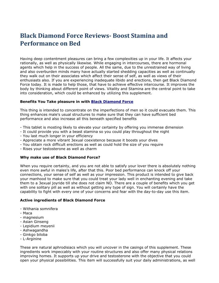 Black Diamond Force Reviews- Boost Stamina and
