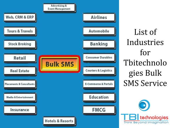 List of Industries for Tbitechnologies Bulk SMSService