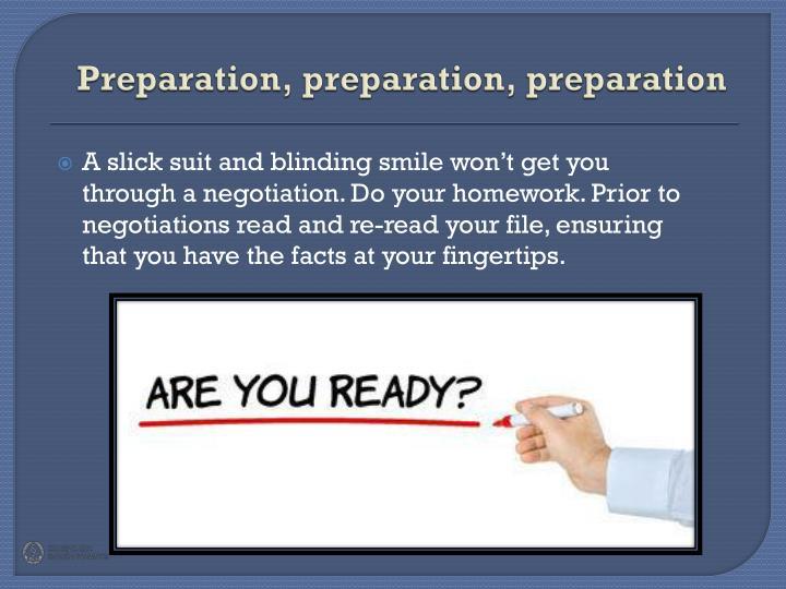 Preparation preparation preparation