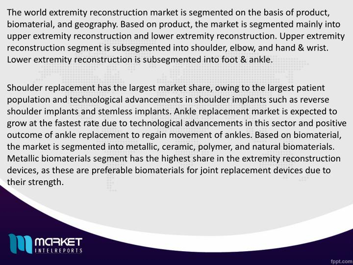 The world extremity reconstruction market is segmented on the basis of product, biomaterial, and geography. Based on product, the market is segmented mainly into upper extremity reconstruction and lower extremity reconstruction. Upper extremity reconstruction segment is subsegmented into shoulder, elbow, and hand & wrist. Lower extremity reconstruction is subsegmented into foot & ankle.