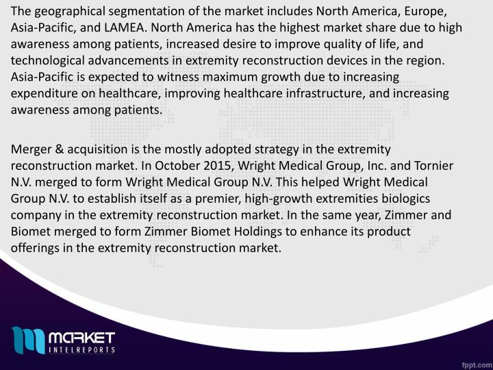 The geographical segmentation of the market includes North America, Europe, Asia-Pacific, and LAMEA. North America has the highest market share due to high awareness among patients, increased desire to improve quality of life, and technological advancements in extremity reconstruction devices in the region. Asia-Pacific is expected to witness maximum growth due to increasing expenditure on healthcare, improving healthcare infrastructure, and increasing awareness among patients.