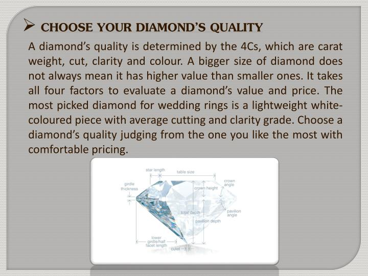CHOOSE YOUR DIAMOND'S QUALITY