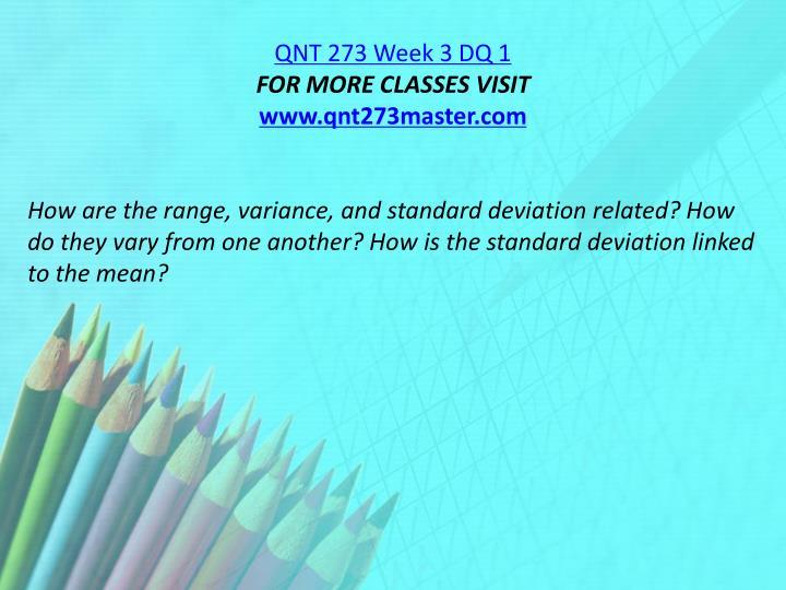 QNT 273 Week 3 DQ 1
