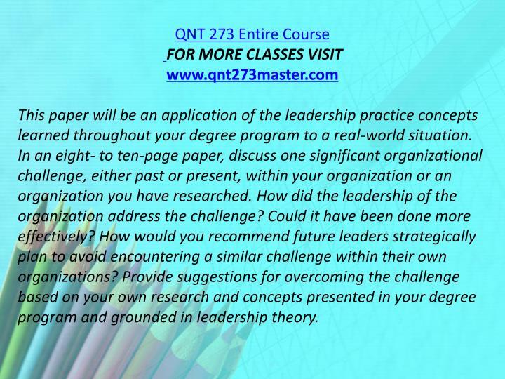 QNT 273 Entire Course