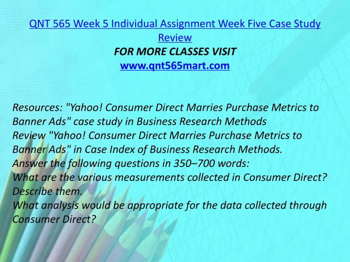 QNT 565 Week 5 Individual Assignment Week Five Case Study Review