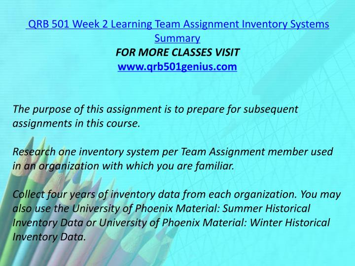 QRB 501 Week 2 Learning Team Assignment Inventory Systems Summary