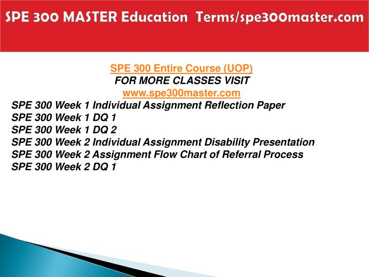 Spe 300 master education terms spe300master com1
