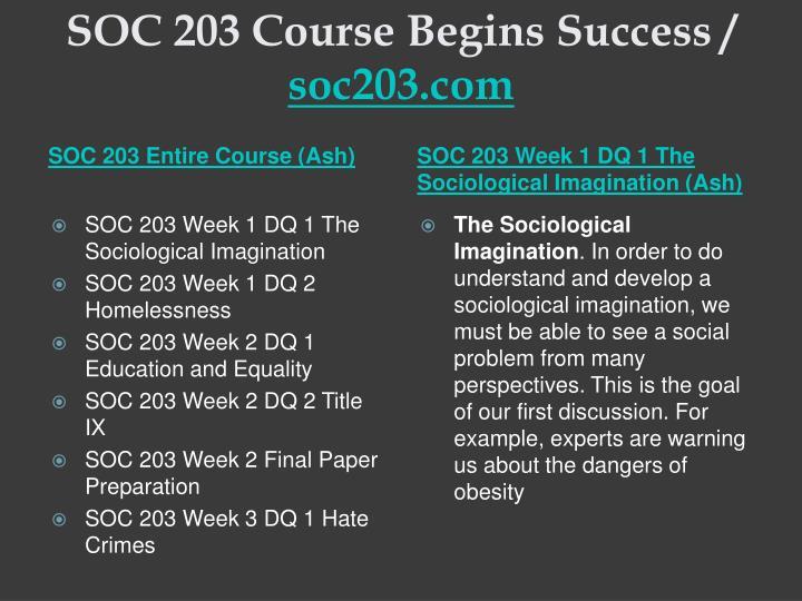 Soc 203 course begins success soc203 com1