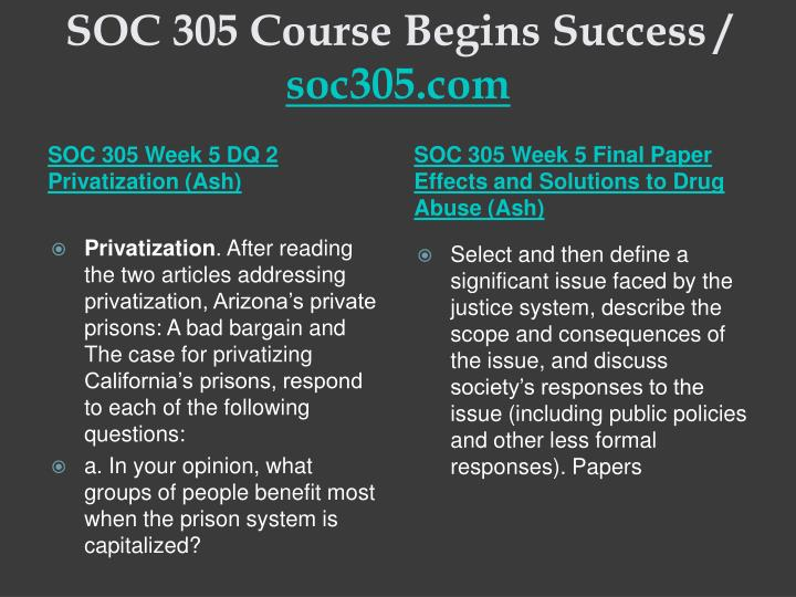 SOC 305 Course Begins Success /