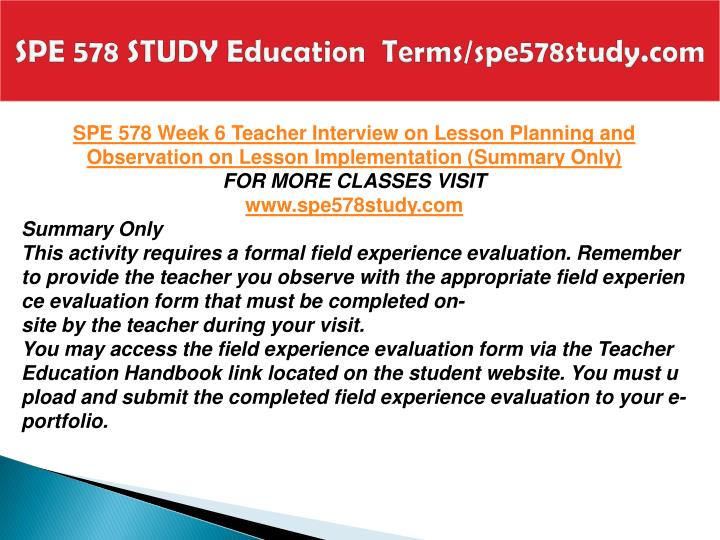 SPE 578 STUDY Education  Terms/spe578study.com