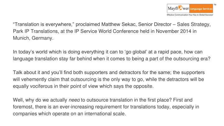 """Translation is everywhere,"" proclaimed Matthew Sekac, Senior Director – Sales Strategy, Park ..."