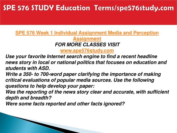 SPE 576 STUDY Education  Terms/spe576study.com