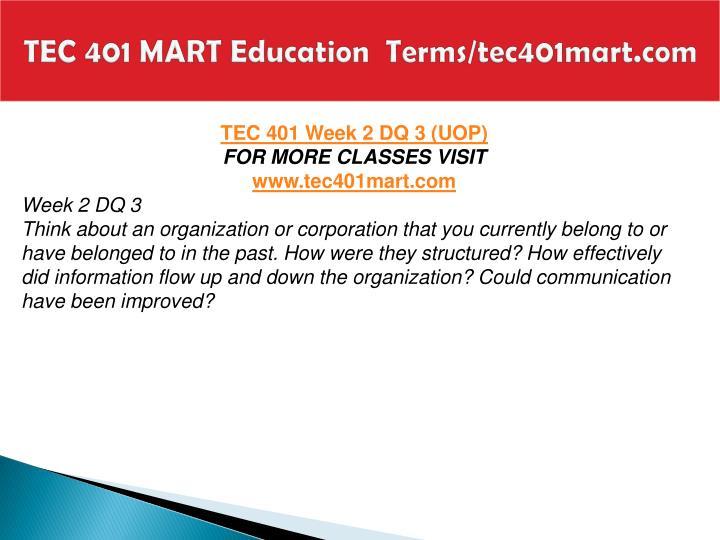 TEC 401 MART Education  Terms/tec401mart.com