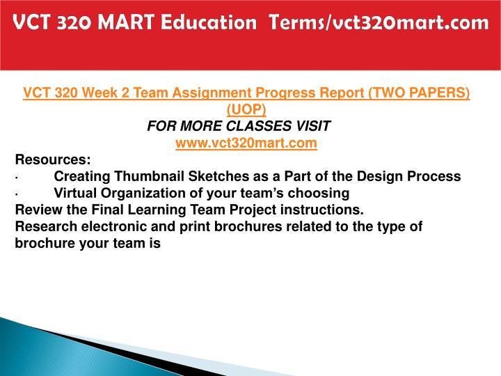 VCT 320 MART Education  Terms/vct320mart.com