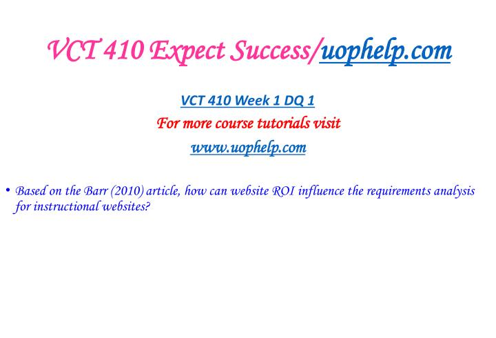 Vct 410 expect success uophelp com2