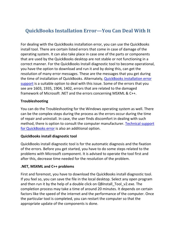 QuickBooks Installation Error—You Can Deal With It