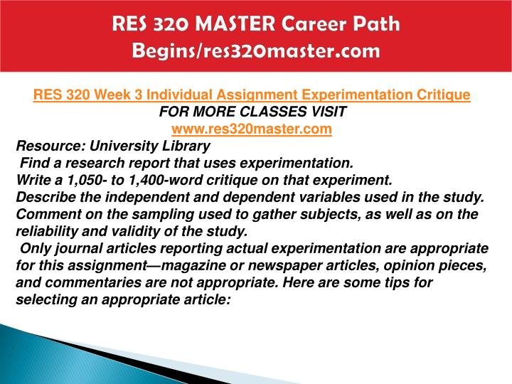 RES 320 MASTER Career Path Begins/res320master.com