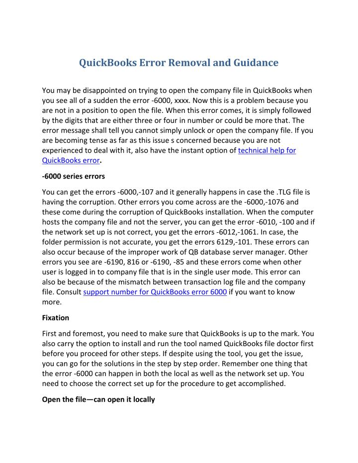 QuickBooks Error Removal and Guidance