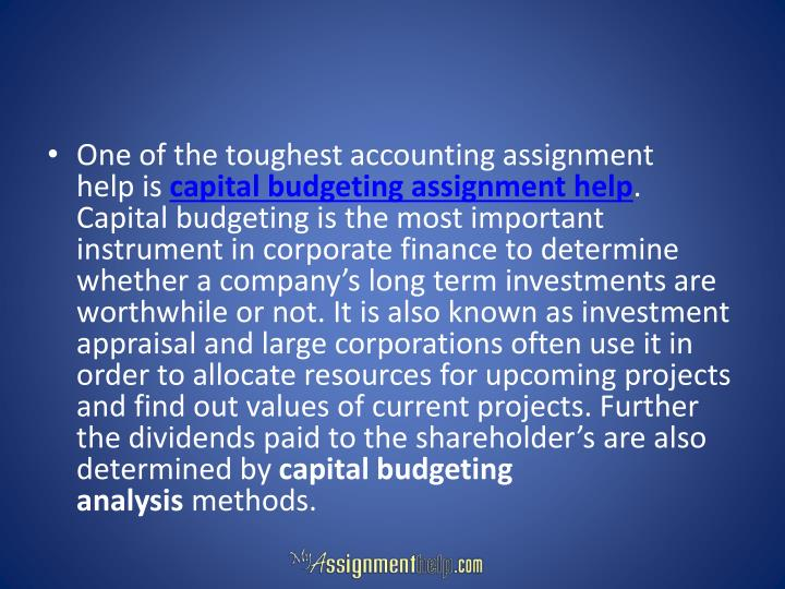 One of the toughest accounting assignment help is