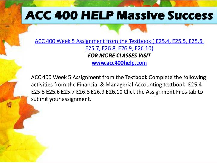 acc400 week 3 individual assignment To the following assignment more course tutorials visit acc400 com www.