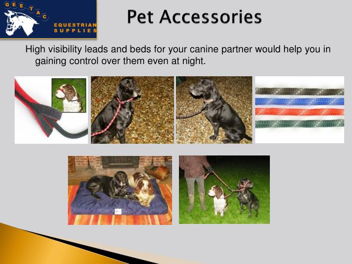 High visibility leads and beds for your canine partner would help you in