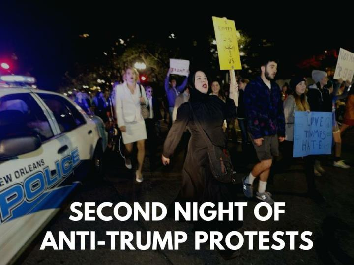 Second night of hostile to trump protests