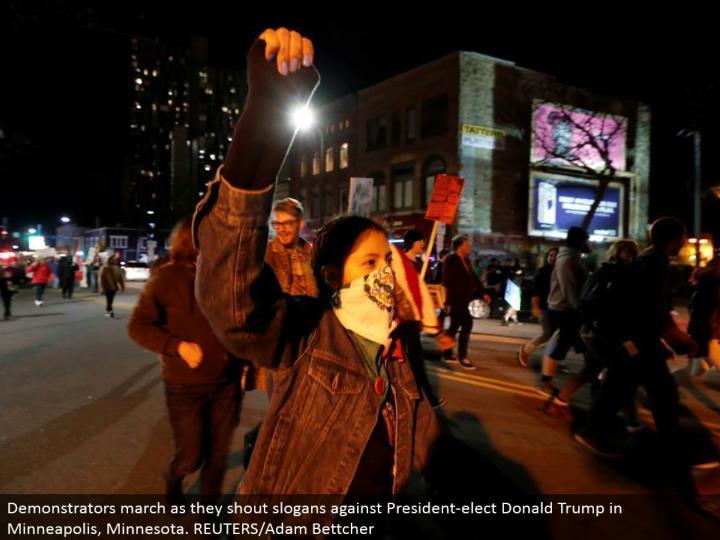 Demonstrators walk as they yell trademarks against President-elect Donald Trump in Minneapolis, Minnesota. REUTERS/Adam Bettcher