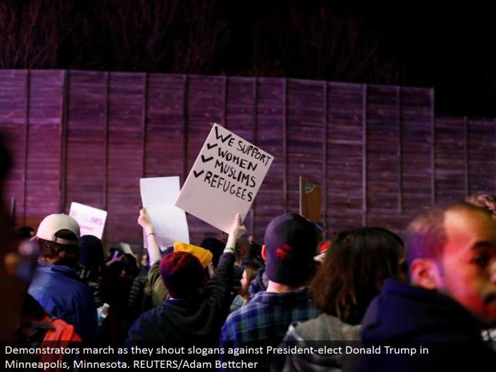 Demonstrators walk as they yell mottos against President-elect Donald Trump in Minneapolis, Minnesota. REUTERS/Adam Bettcher