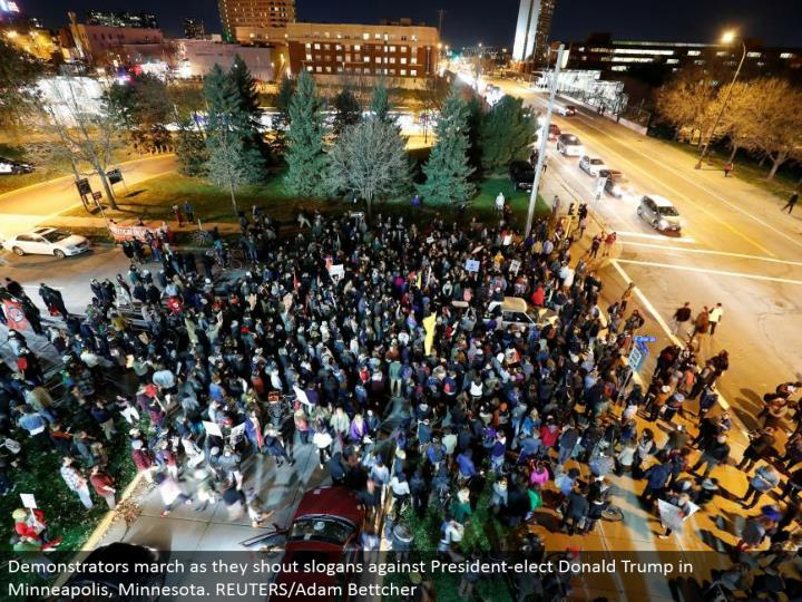 Demonstrators walk as they yell mottos against President-elect Donald Trump in Minneapolis, Minnesot...