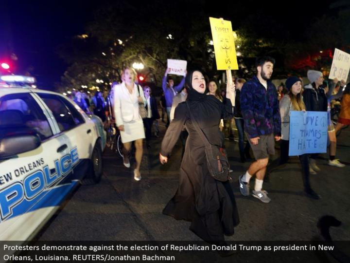 Protesters show against the decision of Republican Donald Trump as president in New Orleans, Louisiana. REUTERS/Jonathan Bachman