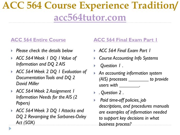 Acc 564 course experience tradition acc564tutor com1