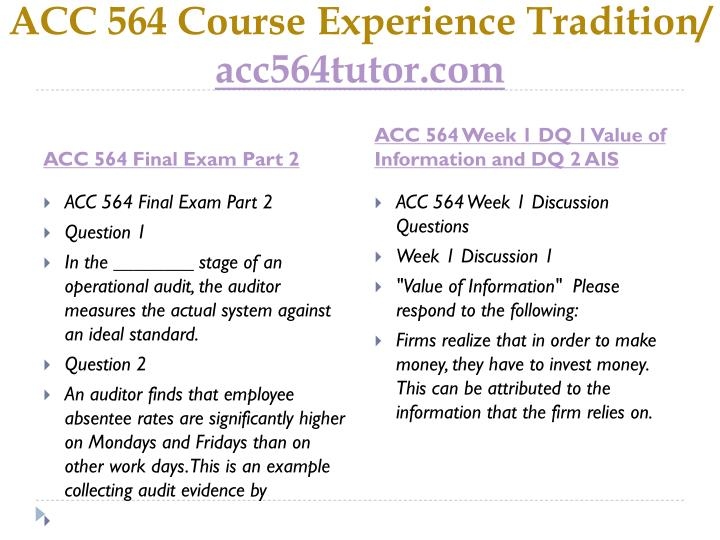 Acc 564 course experience tradition acc564tutor com2