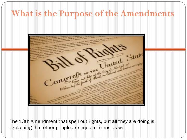 The 13th Amendment that spell out rights, but all they are doing is explaining that other people are...